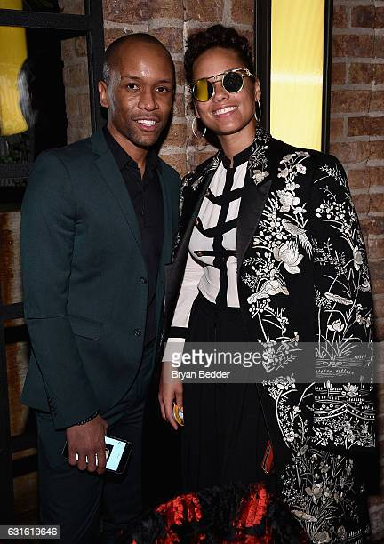 Alicia Keys and Isoul Harris attend the Surface And American Express Platinum Celebrate The Art Issue on January 12 2017 in New York City