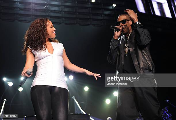 Alicia Keys and JayZ perform at Madison Square Garden on March 17 2010 in New York City