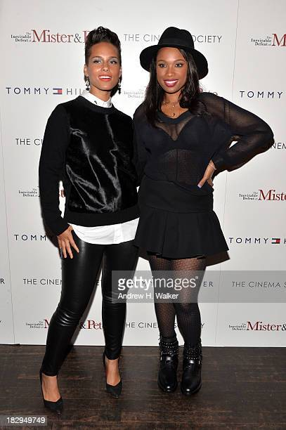 Alicia Keys and Jennifer Hudson attend The Cinema Society Tommy Hilfiger screening of The Inevitable Defeat of Mister Pete at Tribeca Grand Screening...