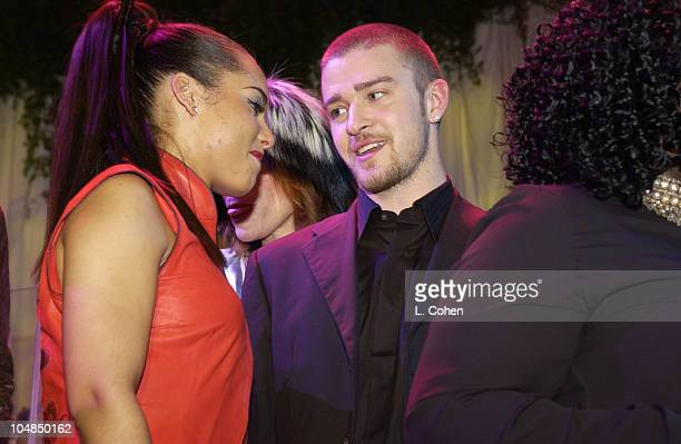 Alicia Keys and Justin Timberlake during 2003 Clive Davis PreGRAMMY Party Show at The Regent Wall Street in New York City New York United States