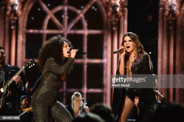 Alicia Keys and Maren Morris perform onstage during The 59th GRAMMY Awards at STAPLES Center on February 12 2017 in Los Angeles California