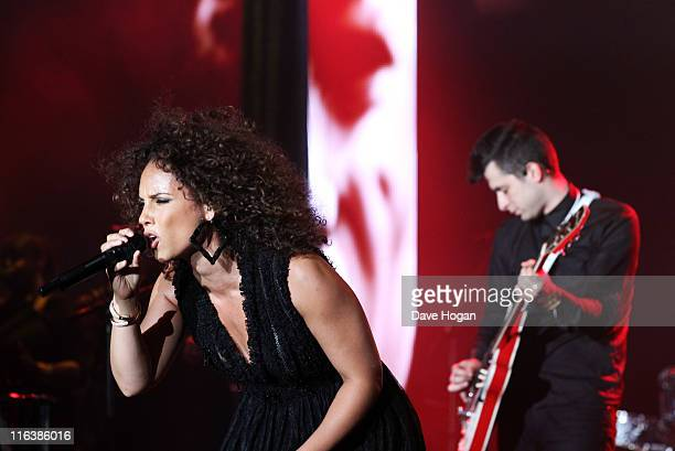 Alicia Keys and Mark Ronson perform at the Keep a Child Alive Black Ball 2011 at Camden Roundhouse on June 15, 2011 in London, England.