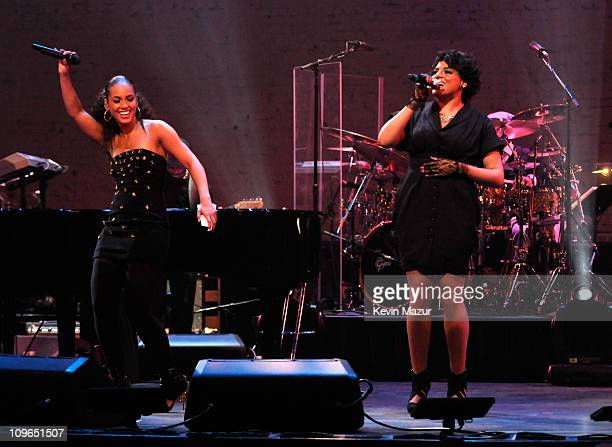 Alicia Keys and Marsha Ambrosius perform at The Apollo Theater on January 7, 2010 in New York City.