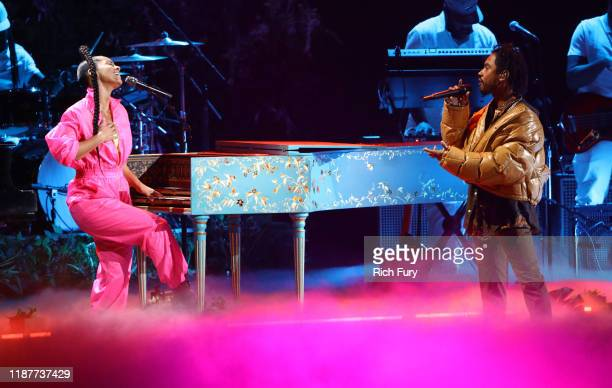 Alicia Keys and Miguel perform onstage during the 20th annual Latin GRAMMY Awards at MGM Grand Garden Arena on November 14 2019 in Las Vegas Nevada