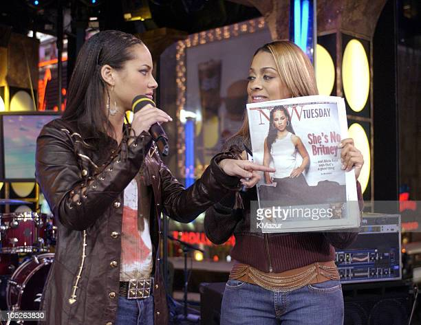 Alicia Keys and MTV VJ La La during Tom Cruise and Alicia Keys Visit MTV's TRL at MTV Studios Times Square in New York City New York United States