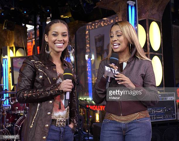 Alicia Keys and MTV VJ La La during Tom Cruise and Alicia Keys Visit MTV's TRL at MTV Studios Times Square in New York City New York United States
