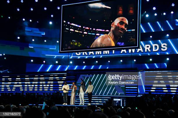 Alicia Keys and Nathan Morris Wanya Morris and Shawn Stockman of Boyz II Men perform onstage during the 62nd Annual GRAMMY Awards at Staples Center...