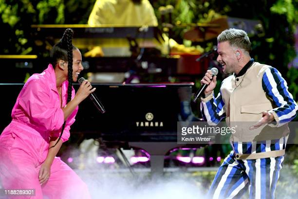 Alicia Keys and Pedro Capo perform onstage during the 20th annual Latin GRAMMY Awards at MGM Grand Garden Arena on November 14 2019 in Las Vegas...