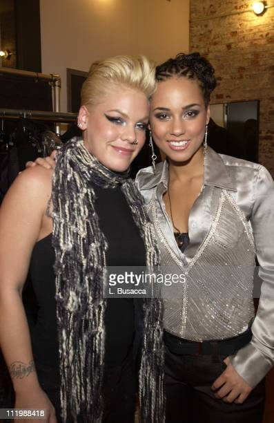 Alicia Keys and Pink during Alicia Keys Album Release Party at Industria in New York City 2003 at Industria in New York New York United States