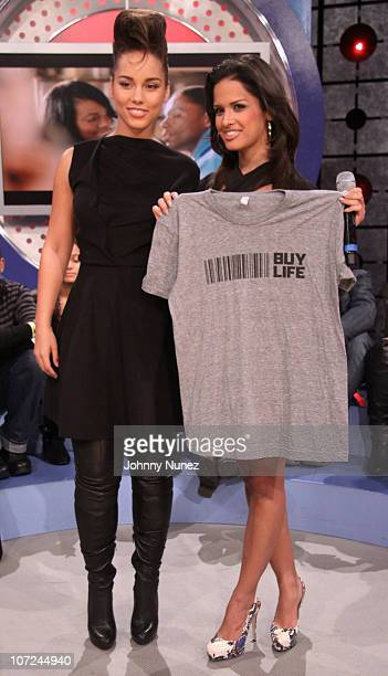 Alicia Keys and Rocsi on the set of BET's 106 Park at BET Studios on December 1 2010 in New York City