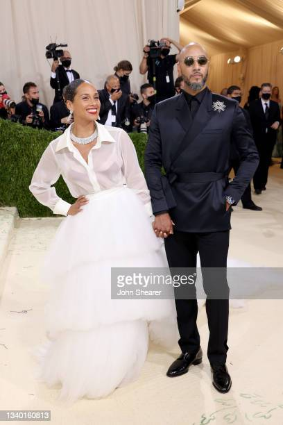 Alicia Keys and Swizz Beatz attend The 2021 Met Gala Celebrating In America: A Lexicon Of Fashion at Metropolitan Museum of Art on September 13, 2021...