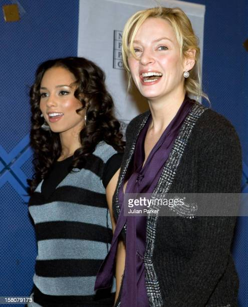 Alicia Keys And Uma Thurman Attend A Press Conference Prior To The Nobel Peace Prize Concert At The Oslo Spektrum In Oslo Norway