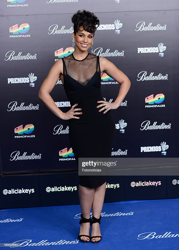 Alicia Keys arrives to '40 Principales Awards' 2012 at the Palacio de Deportes on January 24, 2013 in Madrid, Spain.