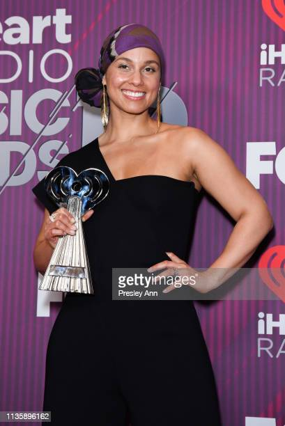 Alicia Keys attends 2019 iHeartRadio Music Awards press room during the 2019 iHeartRadio Music Awards which broadcasted live on FOX at Microsoft...