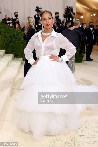 Alicia Keys attends The 2021 Met Gala Celebrating In America: A Lexicon Of Fashion at Metropolitan Museum of Art on September 13, 2021 in New York...