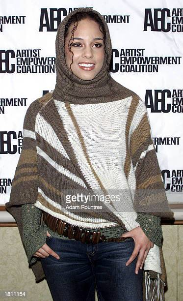 Alicia Keys attends the Artist Empowerment Coalition's Grammy Sunday Brunch February 23 2003 at the New York Hilton Hotel in New York City