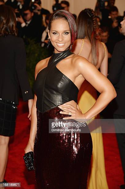 Alicia Keys attends the Costume Institute Gala for the PUNK Chaos to Couture exhibition at the Metropolitan Museum of Art on May 6 2013 in New York...