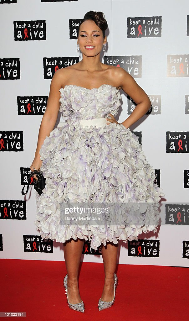 Alicia Keys attends the Keep A Child Alive Black Ball fundraiser on May 27, 2010 in London, England.