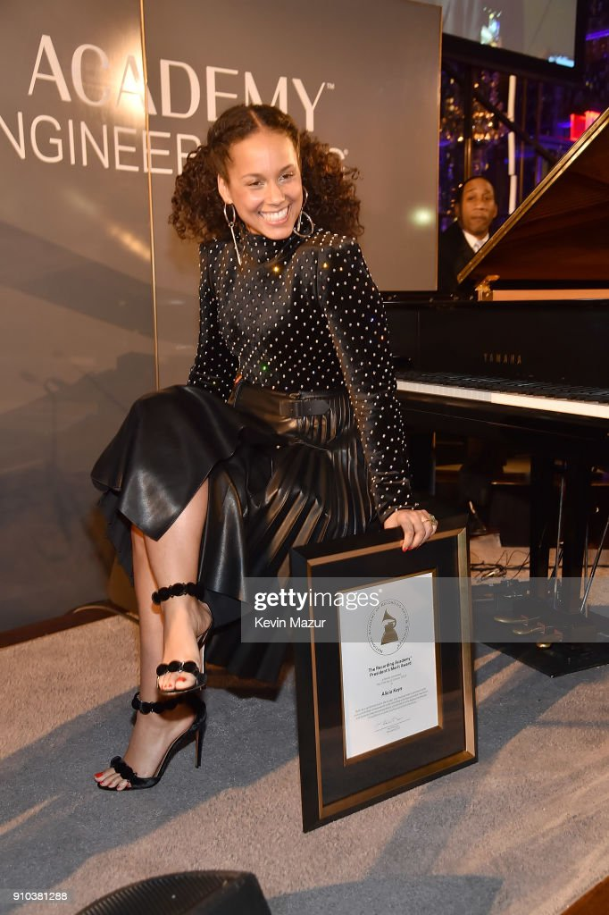 Alicia Keys attends the Producers and Engineers Wing 11th Annual GRAMMY Week event honoring Swizz Beatz and Alicia Keys at The Rainbow Room on January 25, 2018 in New York City.