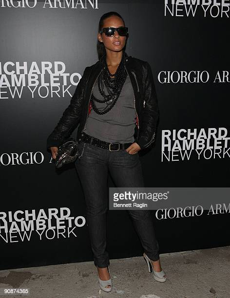 Alicia Keys attends the Vladimir Restoin Roitfeld Andy Valmorbida Presentation Of The Works Of Richard Hambleton at TBD on September 15 2009 in New...