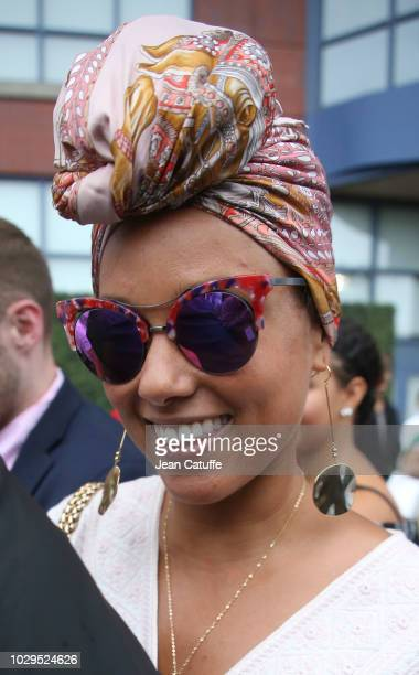 Alicia Keys attends the women's final on day 13 of the 2018 tennis US Open on Arthur Ashe stadium at the USTA Billie Jean King National Tennis Center...