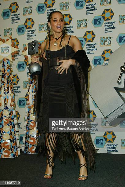 Alicia Keys during 2002 MTV European Music Awards Press Room at Palau Sant Jordi in Barcelona Spain