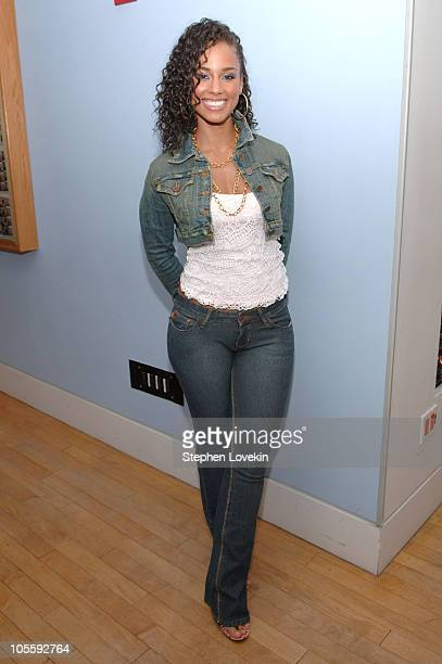 Alicia Keys during Alicia Keys and Fall Out Boy Visit MTV's 'TRL' October 11 2005 at TRL Studios Times Square in New York City New York United States
