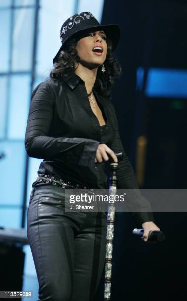 Alicia Keys during KIIS FM Jingle Ball Concert 2004 at Arrowhead Pond in Anaheim California United States