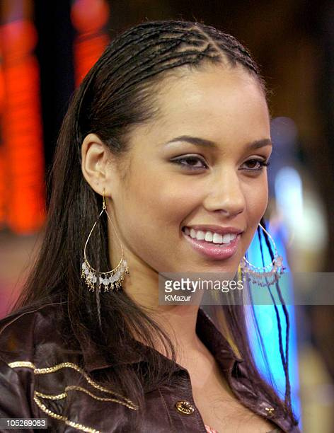 Alicia Keys during Tom Cruise and Alicia Keys Visit MTV's TRL at MTV Studios Times Square in New York City New York United States