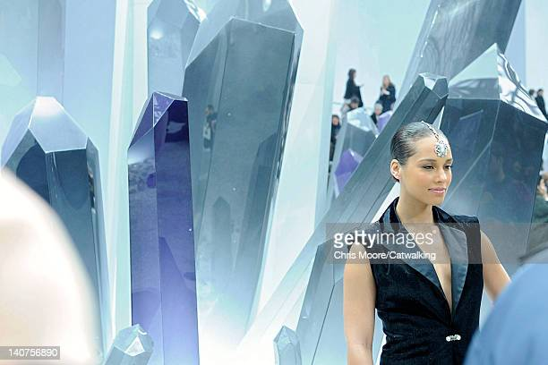 Alicia Keys front row at the Chanel Autumn Winter 2012 fashion show during Paris Fashion Week on March 6, 2012 in Paris, France.