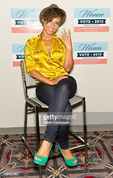 Alicia Keys holds a press conference backstage at the Philadelphia Women Vote 2012 Summit at Pennsylvania Convention Center on July 16 2012 in...