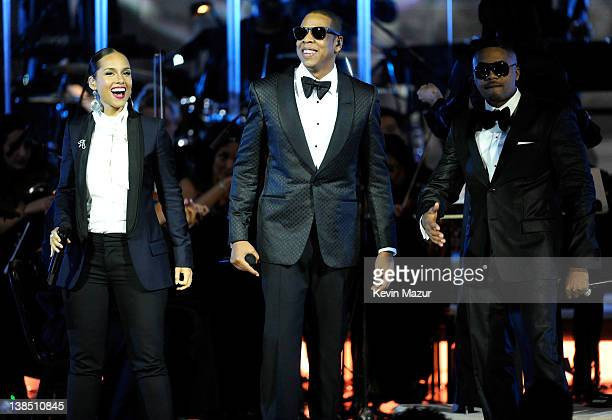 Alicia Keys JayZ and Nas performs at Carnegie Hall to Benefit the United Way of New York City and the Shawn Carter Foundation on February 7 2012 in...