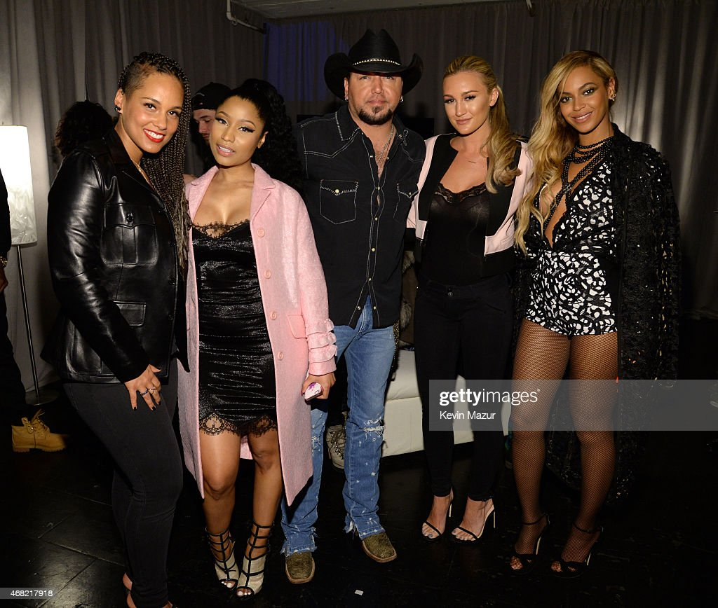 Alicia Keys, Nicki Minaj, Jason Aldean, Brittany Kerr and Beyonce attend the Tidal launch event #TIDALforALL at Skylight at Moynihan Station on March 30, 2015 in New York City.