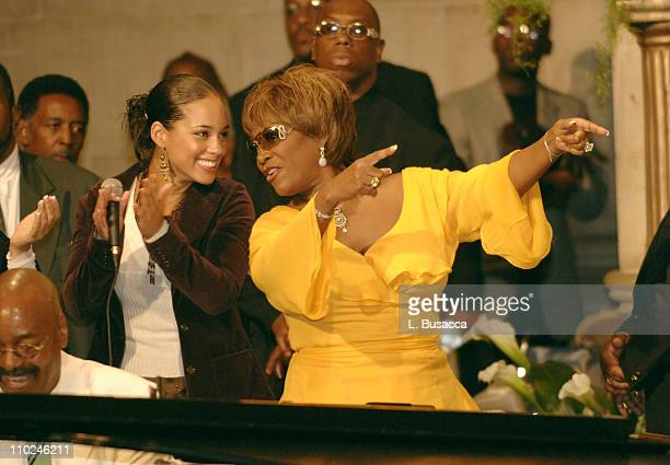 Alicia Keys Patti LaBelle and pianist Donnie Harper at the funeral service for Luther Vandross on Friday July 8 2005