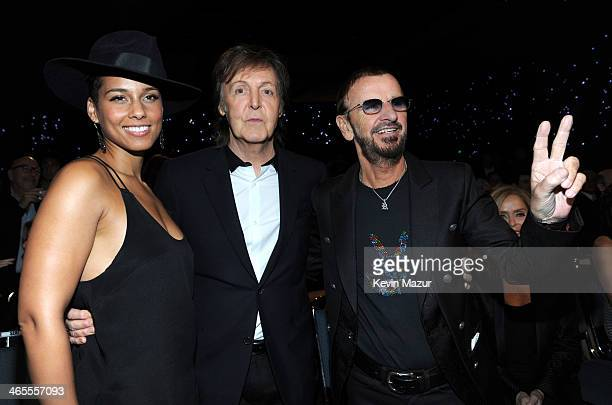 Alicia Keys Paul McCartney and Ringo Starr attend The Night That Changed America A GRAMMY Salute To The Beatles at Los Angeles Convention Center on...