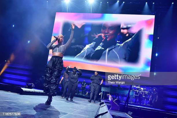 Alicia Keys perform with Leikeli47 during the TIDAL's 5th Annual TIDAL X Benefit Concert TIDAL X Rock The Vote At Barclays Center Show at Barclays...