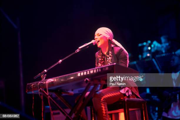 Alicia Keys performing at the Aire Crown Theater in Chicago Illinois February 8 2002