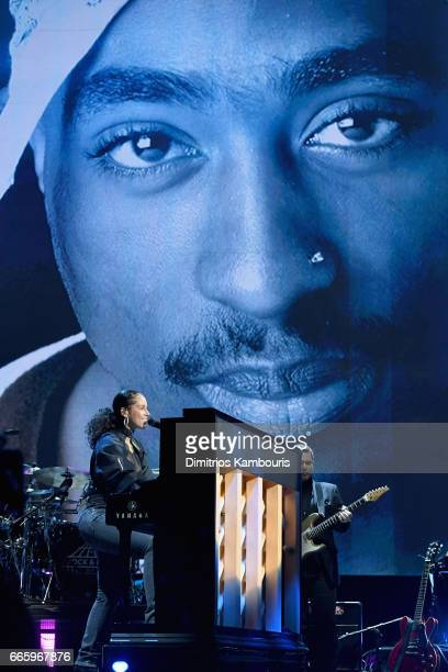 Alicia Keys performs 2017 Inductee Tupac Shakur onstage at the 32nd Annual Rock Roll Hall Of Fame Induction Ceremony at Barclays Center on April 7...