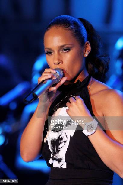 ALicia Keys performs at the Black Ball UK in aid of 'Keep A Child Alive' HIV/AIDS charity at St John's, Smith Square on July 10, 2008 in London,...