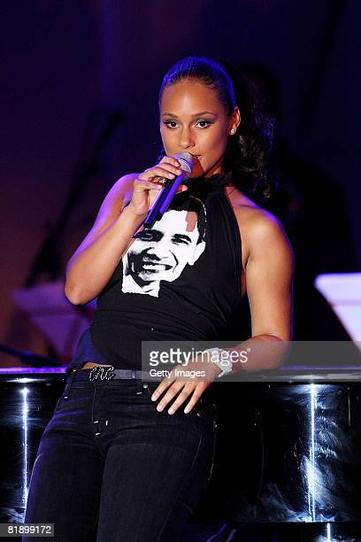 Alicia Keys performs at the Black Ball UK in aid of the Keep A Child Alive HIV/AIDS charity at St John's Smith Square on July 10 2008 in London...