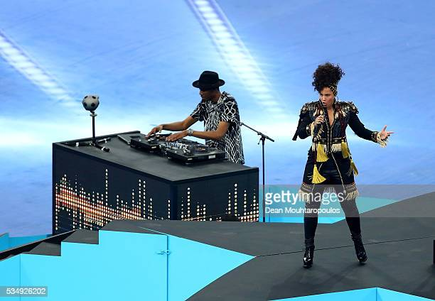 Alicia Keys performs during Champions League final opening ceremony during the UEFA Champions League Final match between Real Madrid and Club...