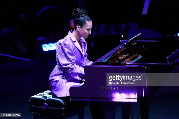 Alicia Keys performs during The Celebration of Life for Kobe Gianna Bryant at Staples Center on February 24 2020 in Los Angeles California