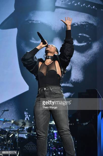 Alicia Keys performs in honor of 2017 Inductee Tupac Shakur onstage at the 32nd Annual Rock Roll Hall Of Fame Induction Ceremony at Barclays Center...