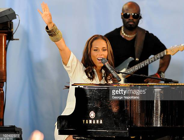 Alicia Keys performs on ABC's 'Good Morning America' at Rumsey Playfield Central Park on June 25 2010 in New York City