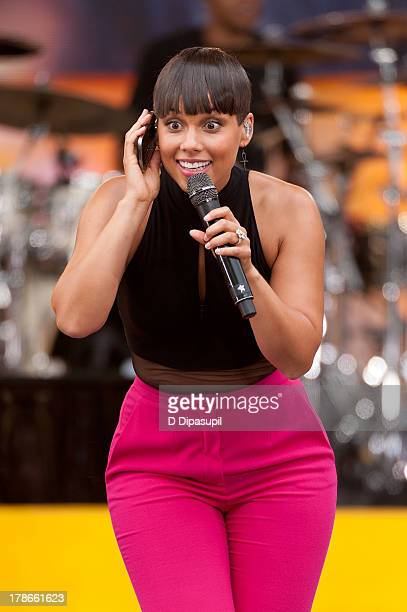 Alicia Keys performs on ABC's 'Good Morning America' at Rumsey Playfield on August 30 2013 in New York City
