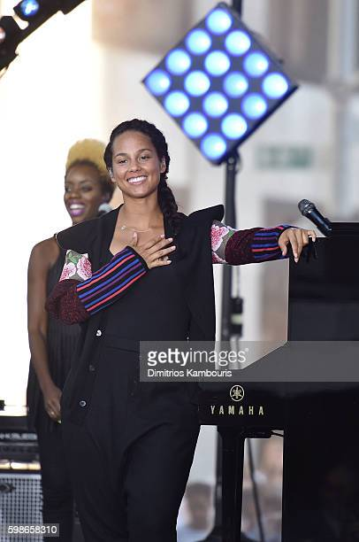 "Alicia Keys performs on NBC's ""Today"" at Rockefeller Plaza on September 2, 2016 in New York City."