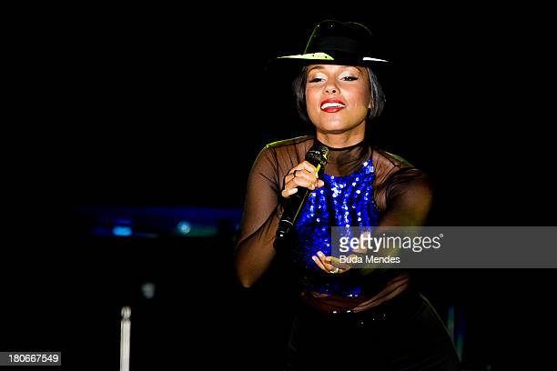 Alicia Keys performs on stage during a concert in the Rock in Rio Festival on September 15 2013 in Rio de Janeiro Brazil