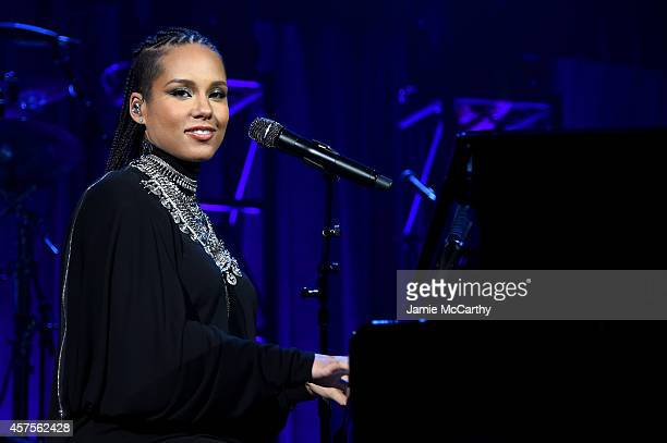 Alicia Keys performs onstage at Angel Ball 2014 hosted by Gabrielle's Angel Foundation at Cipriani Wall Street on October 20 2014 in New York City