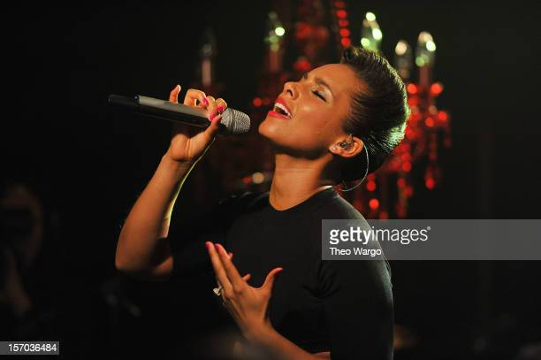 Alicia Keys performs onstage at iHeartRadio Live Presents Alicia Keys at iHeartRadio Theater on November 27 2012 in New York City