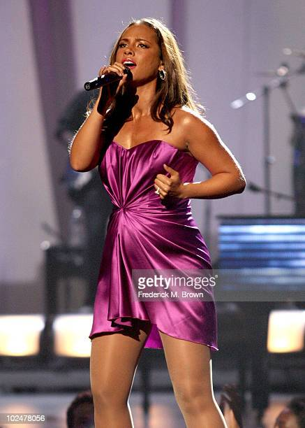 Alicia Keys performs onstage during the 2010 BET Awards held at the Shrine Auditorium on June 27 2010 in Los Angeles California